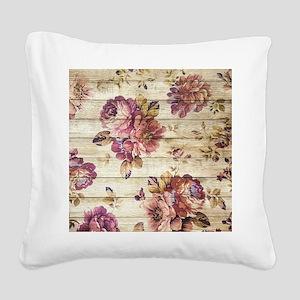 Vintage Romantic Floral Wood Square Canvas Pillow