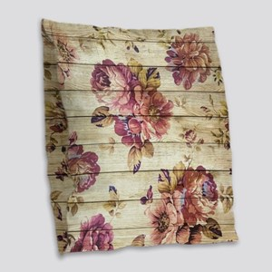 Vintage Romantic Floral Wood P Burlap Throw Pillow