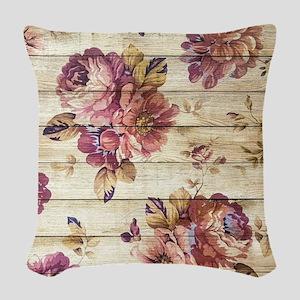 Vintage Romantic Floral Wood P Woven Throw Pillow