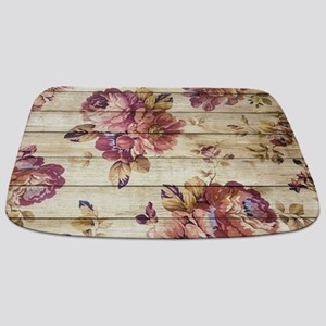 Vintage Romantic Floral Wood Pattern Bathmat