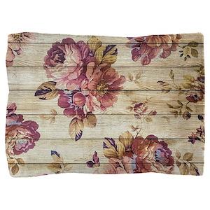 Vintage Romantic Floral Wood Pattern Pillow Sham