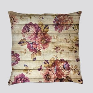 Vintage Romantic Floral Wood Patte Everyday Pillow