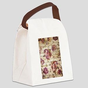 Vintage Romantic Floral Wood Patt Canvas Lunch Bag