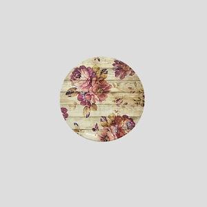 Vintage Romantic Floral Wood Pattern Mini Button