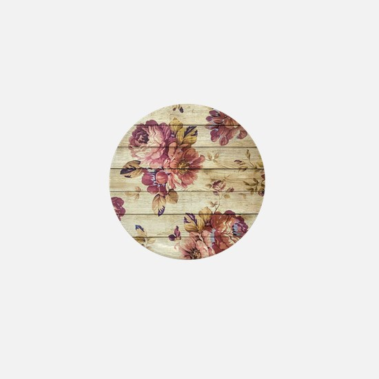 Vintage Romantic Floral Wood Pattern Mini Button