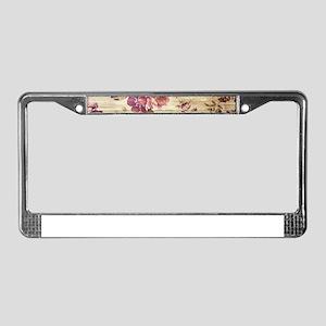 Vintage Romantic Floral Wood P License Plate Frame