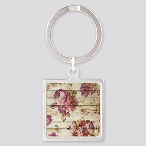 Vintage Romantic Floral Wood Pattern Keychains