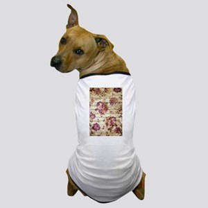 Vintage Romantic Floral Wood Pattern Dog T-Shirt