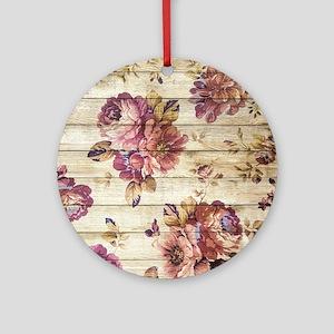 Vintage Romantic Floral Wood Patter Round Ornament