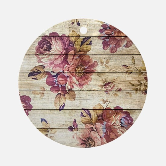 Vintage Romantic Floral Wood Patter Round Ornament