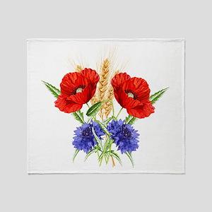 Ukrainian flowers Throw Blanket