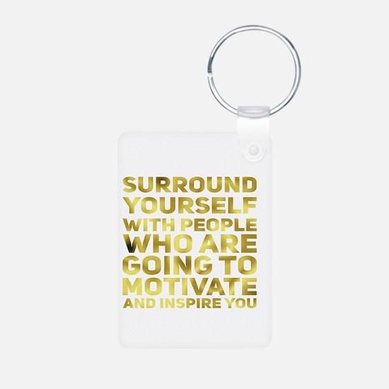 Surround Yourself Inspirational Quote Dark Gold Ke