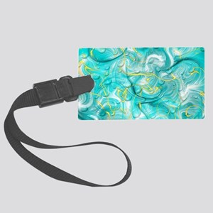 blue festive water drops Large Luggage Tag