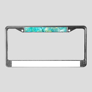 blue festive water drops License Plate Frame