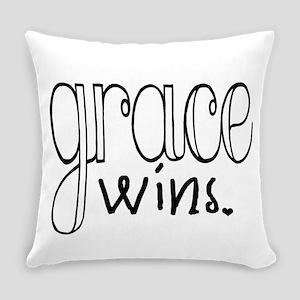 Grace Wins (black) Everyday Pillow