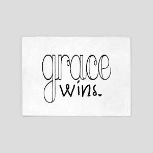 Grace Wins (black) 5'x7'Area Rug