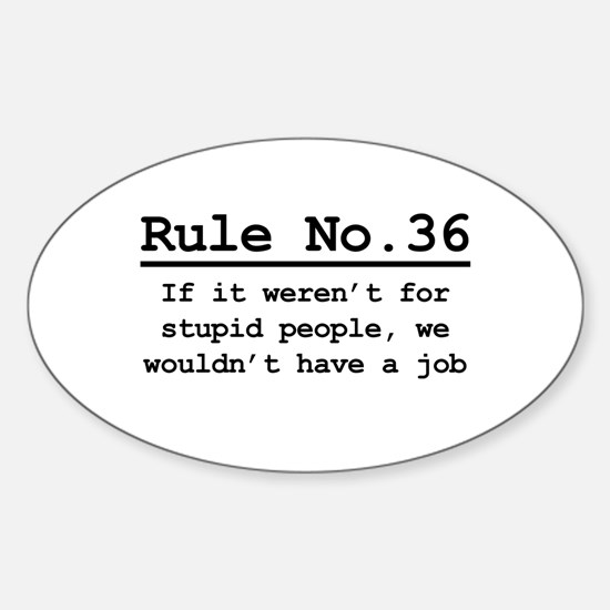 Rule No. 36 Oval Decal