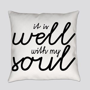 It Is Well With My Soul (Black) Everyday Pillow