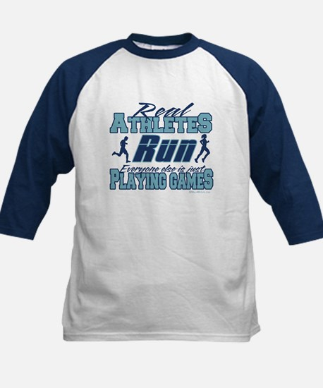 Real Athletes Run Kids Baseball Jersey