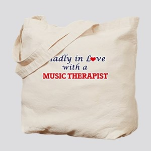 Madly in love with a Music Therapist Tote Bag
