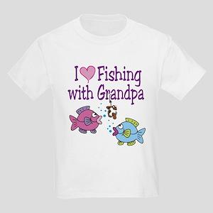 I Love Fishing With Grandpa Kids Light T-Shirt