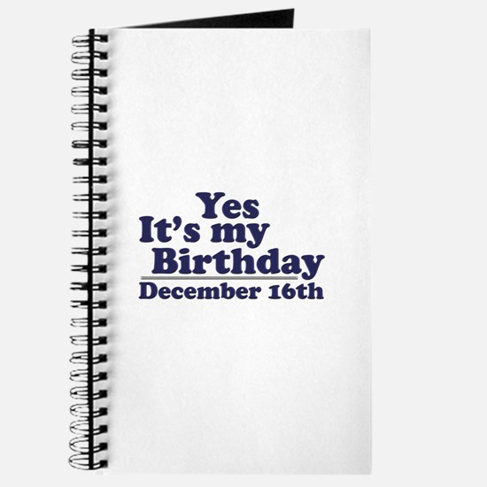 December 16th Birthday Journal