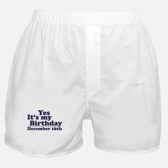 December 16th Birthday Boxer Shorts