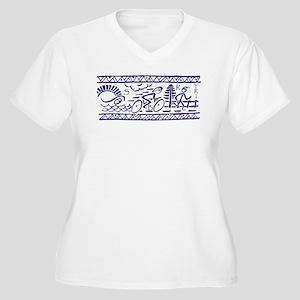 BLUE TRI-BAND Women's Plus Size V-Neck T-Shirt