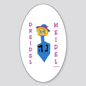 Chanukah Dreidel Meidel Oval Sticker