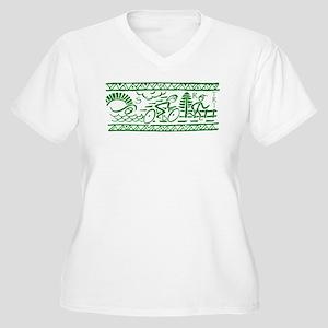GREEN TRI-BAND Women's Plus Size V-Neck T-Shirt