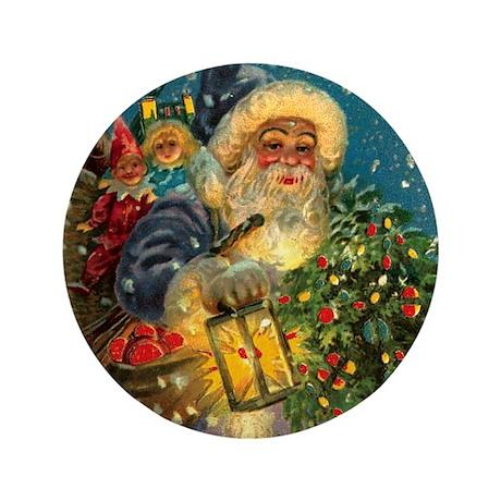Christmas Santa Claus ~Blue~Lantern~ Lg Pin Button