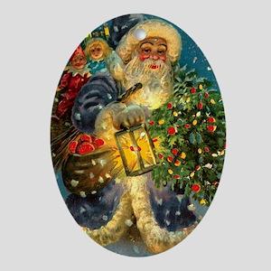 Christmas Santa Claus Pendant or Oval Ornament