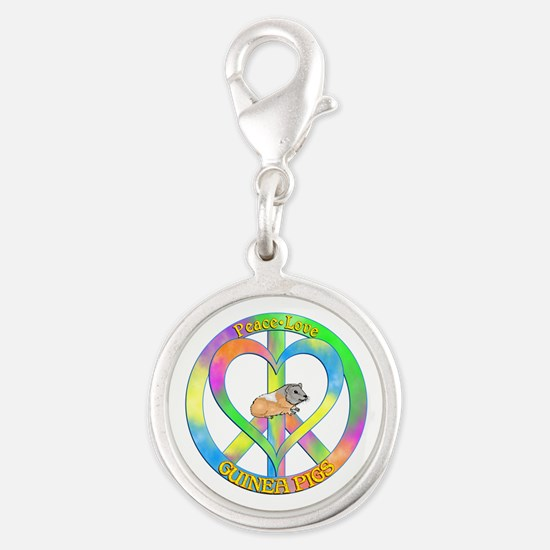 Peace Love Guinea Pigs Silver Round Charm