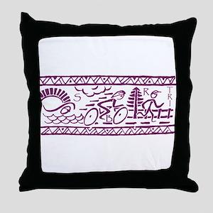 PURPLE TRI-BAND Throw Pillow
