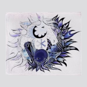Horse ying yang coloured Throw Blanket