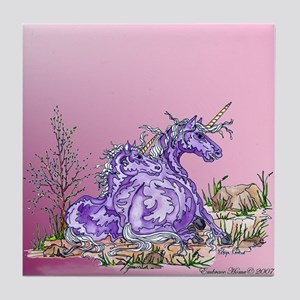 Purple Unicorns Tile Coaster