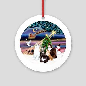 Xmas Magic & 5 Cats Ornament (Round)