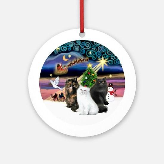 Xmas Magic & 3 Persian cats Ornament (Round)