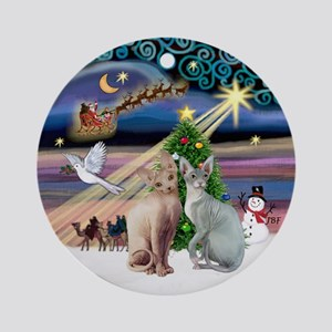 Xmas Magic & 2 Sphyx cats - Ornament (Round)