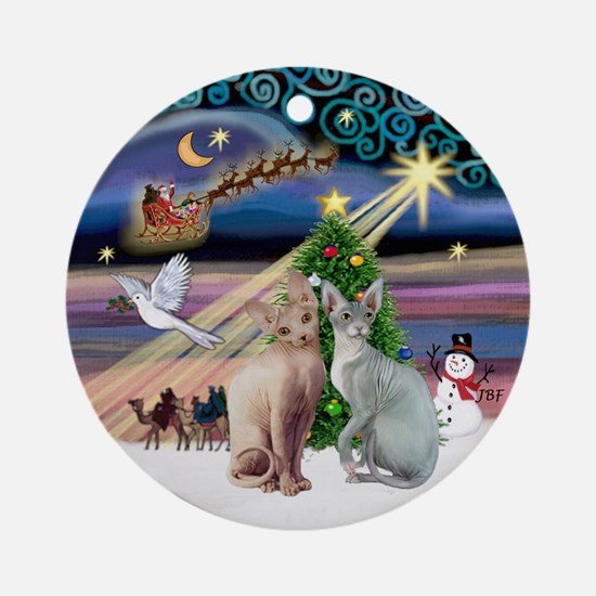 Xmas Magic & 2 Sphyx cats - Ornament (Round)