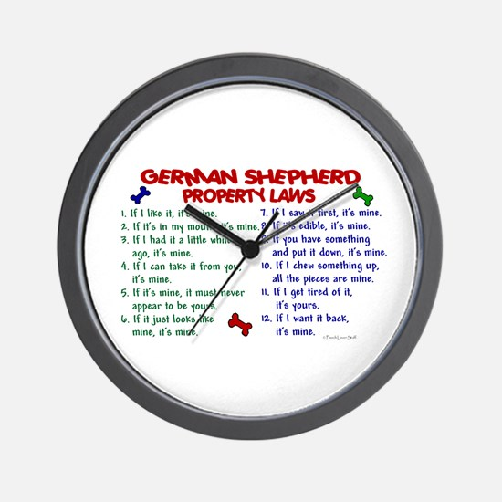 German Shepherd Property Laws 2 Wall Clock
