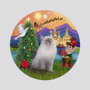 Xmas Fantasy & Ragdoll cat Ornament (Round)