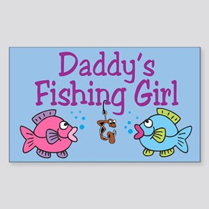 Daddy's Fishing Girl Rectangle Sticker