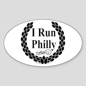 I Run Philly Oval Sticker