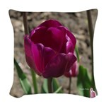 Purple Tulip Woven Throw Pillow