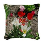 Tulips White,red And Pink Woven Throw Pillow