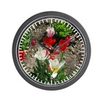 White,red And Pink Tulips Wall Clock