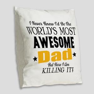 Awesome Dad Burlap Throw Pillow