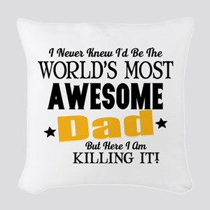 Awesome Dad Woven Throw Pillow