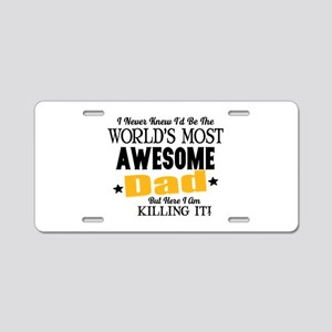 Awesome Dad Aluminum License Plate